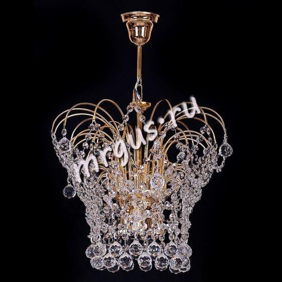 Хрустальная подвесная люстра Каскад Корона 3 лампы