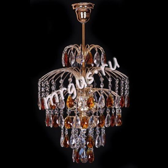 Хрустальная подвесная люстра Брызги 3 лампы Журавлик с макушкой